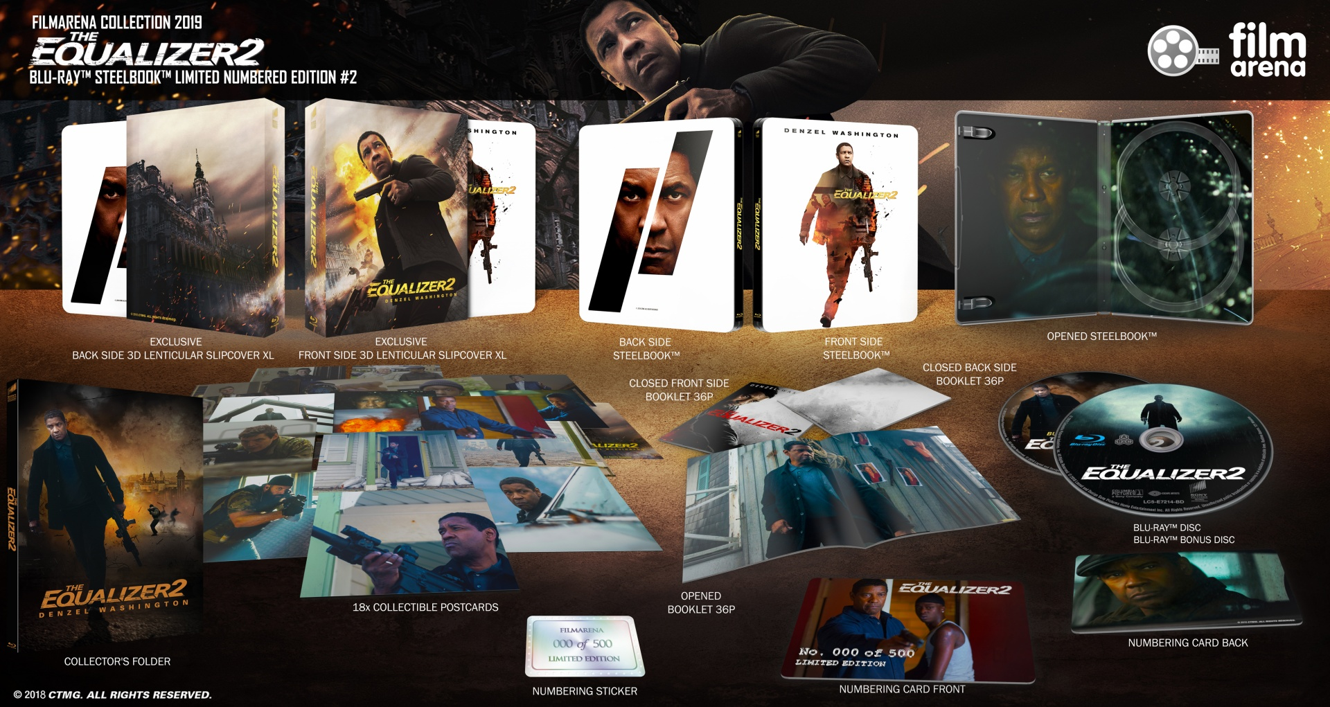 FAC 111 - The Equalizer 2 - Edition 2 - Double Side XL Lenticularslip  Steelbook 2D